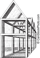 Construction scale model - Ancient vector engraving of...