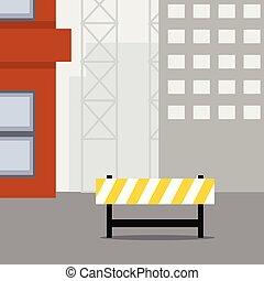 Construction scene, Warning sign