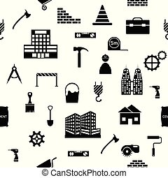 construction seamless pattern background icon.