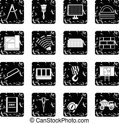 Construction set icons, grunge style
