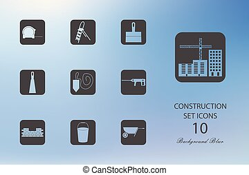 Construction. Set of flat icons on blurred background