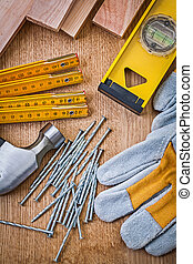construction set of tools on wooden board