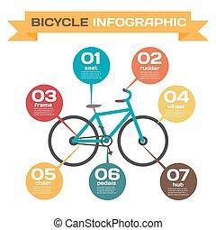construction, set., parts., vélo, ensemble, bicycle., infographics, titre, vecteur, conception, infographic