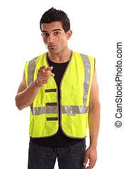 construction, sien, ouvrier, doigt indique