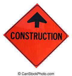 Construction Sign - A isolated construction sign.