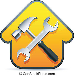Construction sign. - Hammer and wrench over construction ...