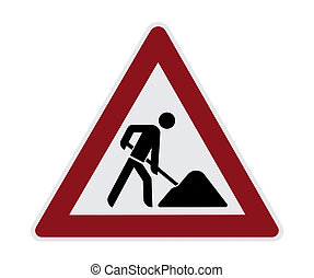 Construction Sign - This image shows a isolated construction...