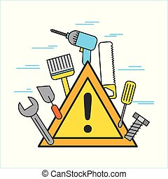 construction signal warning alert with differents tool