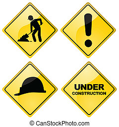 Set of four different glossy construction traffic signs