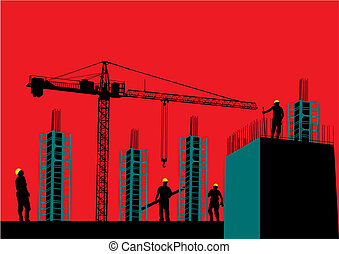 construction, silhouette, site