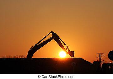construction, silhouette, site, excavateur