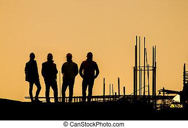 construction, silhouette, site, ingénieurs