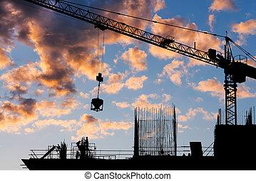 construction, silhouette, site