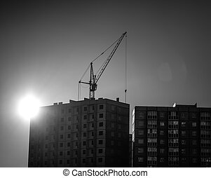 construction, silhouette, site, sunset.