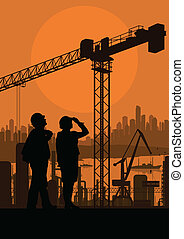 Construction site and engineer vector background