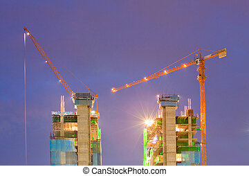 Construction Site At Dusk - Big Construction Site with...