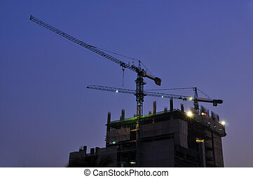 Construction site at night