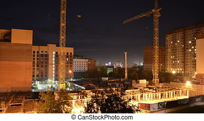 Construction site at night, timelapse panorama