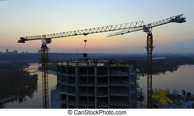 Construction Site At Sunset, silhouette. - Construction Site...