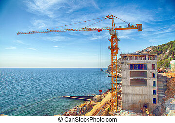 Construction site at the sea coast