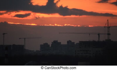 Construction site at twilight sky background