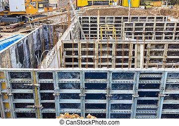 construction site, basement, formwork