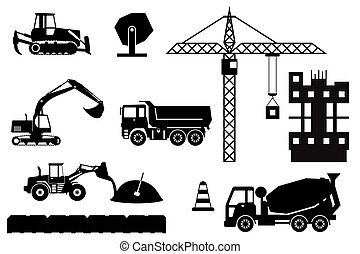 Construction site, building a house - vector illustration.