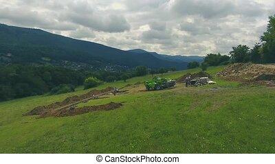 Construction site. Building concrete foundation for a new...