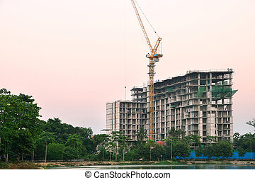 Construction site building on twilight time