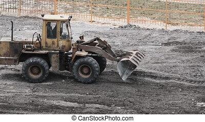 construction, site., bulldozer, vieux, caoutchouc, roues, travaux