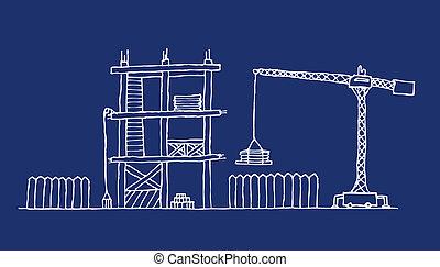 Construction site cartoon blueprint