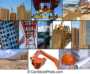 Photo collage of construction related images around working man