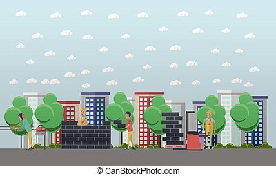 Construction site concept vector illustration in flat style....