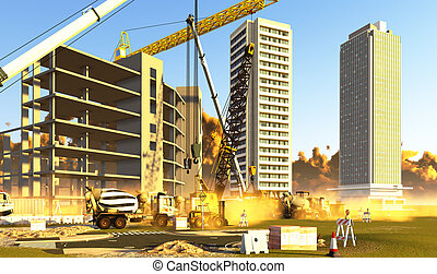 Construction site covered with dust