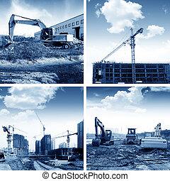 Construction site cranes and excavators