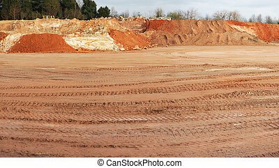 construction site dirt tire track