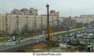 construction site drilling pile foundation - huge drilling...