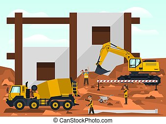 Construction site. Employees performing the construction of the building. Special equipment. Excavator, concrete mixer. Template for text. Labels, icons, logos. Vector illustration.