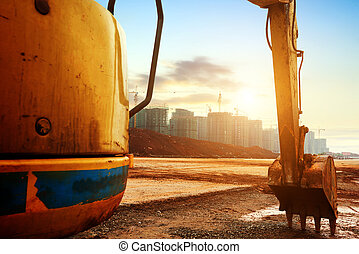Construction site excavator - Big excavator on new...
