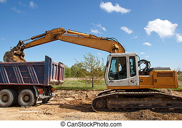 construction site. excavator