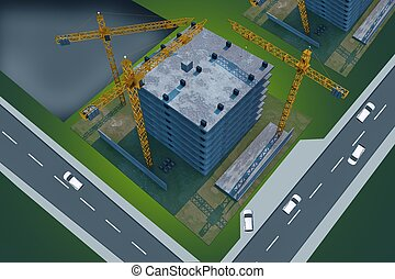 Construction Site From Above Abstract 3D Render illustration...