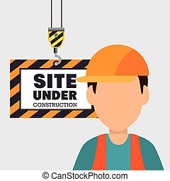 construction, site, icône