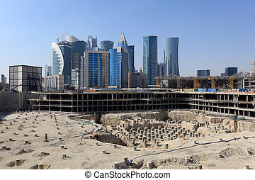 Construction site in Doha downtown, Qatar