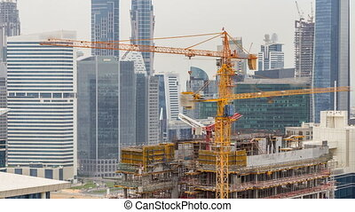 Construction site in Dubai timelapse, United Arab Emirates....