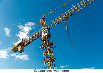 Construction site in european city, tower crane