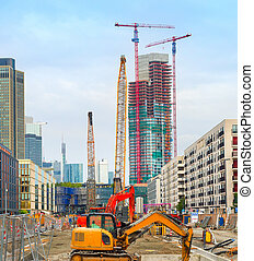 Construction site in Frankfurt downtown