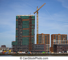 construction site in the centre of rotterdam