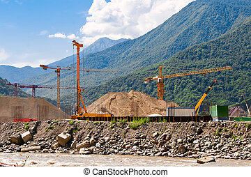 Construction site in the mountains