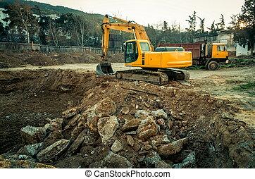 construction, site industriel, machinerie