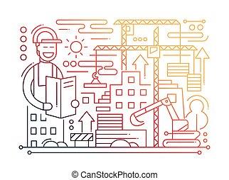 Construction Site - line design composition - color gradient